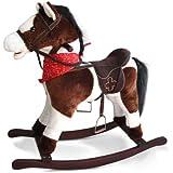 Jago Cavallo cavallino a dondolo di peluche colore marrone scuro-bianco