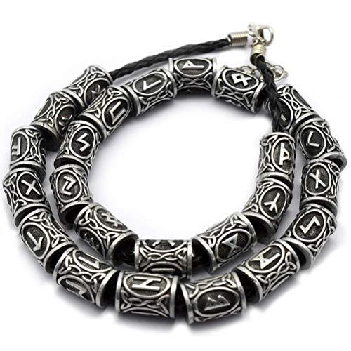 Bart Perlen, Mädchen Haarschmuck, klassischen nordischen Viking Stil Metall nordischen Viking Runen Charms Perle 24 Pcs ()