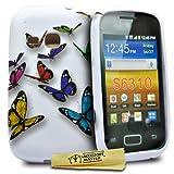 Accessory Master  -Cover in Silicone per Samsung Galaxy Young S6310, Motivo Fiori e Farfalle