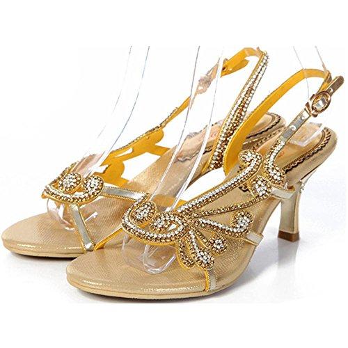 Kristall Sandalen Frau Diamant Handgefertigt Dünn High Heels Leder Nacht Verein Party Gurt Schnalle Hohl Flip Flops Abend Bankett Pumps Schuhe . Gold . 38