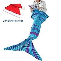 TDH sirena manta cola para niños y adultos saco de dormir de sirena,de punto, cálido y suave todas las estaciones sofá cama sala de estar manta de dormir,74''x35'',GIFT:Christmas hat + compression bag