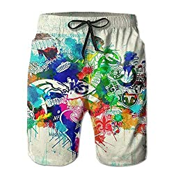 Bag hat Summer Moon Fire Men Quick Dry Swim Trunks USA NFL Map Collage Swimwear Water Shorts with Pockets X-Large