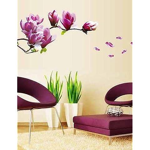 Florals Magnolia púrpura pegatinas de pared