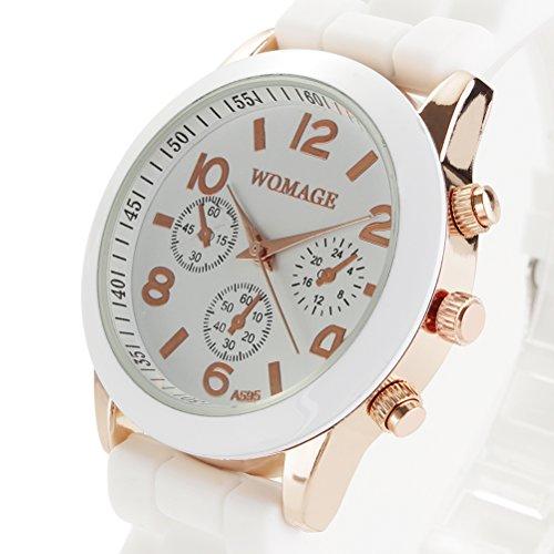 PIXNOR Chicas mujeres ronda de cuarzo reloj de pulsera con banda de silicona (blanco)