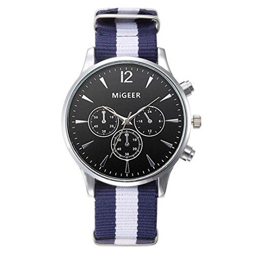 Fortan Herren Englisch klassischer Art-Freizeit-Segeltuch -Band-Uhr-Armbanduhren - Natürliche Segeltuch-schuhe