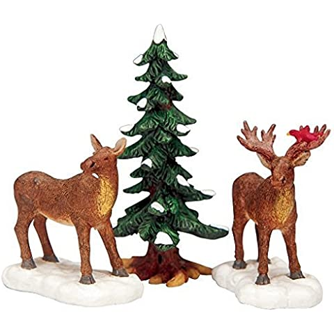2003 Mr. & Mrs. Moose w/ Tree Set of 3 Christmas Village Figurines by Lemax