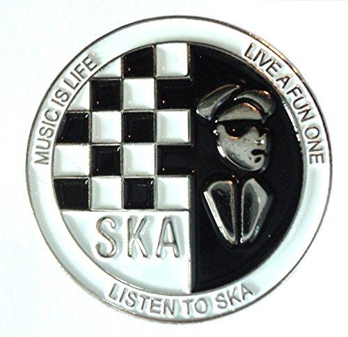 Listen to Ska Schachbrett schwarz & weiß Musik Metall Emaille Badge