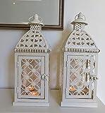 Link Products, lanterne in metallo e vetro color panna (set di 2)