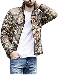 Bigood Abrigo Hombre Mangas Largas Cuello Alto Camuflaje Multicolor