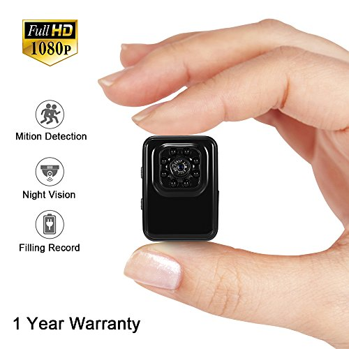 1080P Mini Security Cam Überwachungskamera LXMIMI Portable Kleine HD Nanny Kamera mit Nachtsicht und Bewegungserkennung für Home / Office Indoor (Mini Hd überwachungskamera)