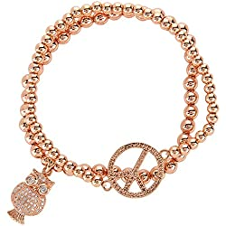 Streetsoul Studded Owl & Peace Charm 5mm & 3mm Rose Gold Bead Bracelet ( Set of 2 ) For Girls Women.