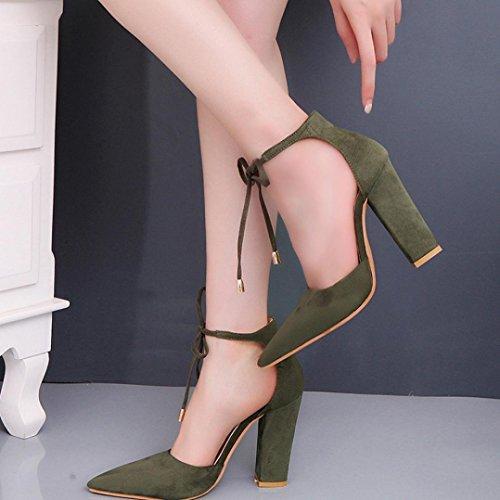 EU 36- 43 Femmes Escarpins Fermés Chaussures Talon Poitu Bride au Cheville Vert