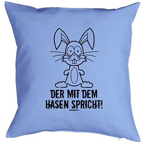 Kissen mit Innenkissen - Hasen 40 x 40 cm Geschenk für Männer in hellblau lustiges Motiv HASE CARTOON : )