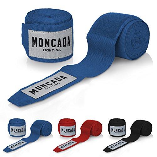 Boxbandagen mit Daumenschlaufe von Moncada Fighting ® (4m) - Halb-Elastische Boxbandagen mit extra breitem Klettverschluss