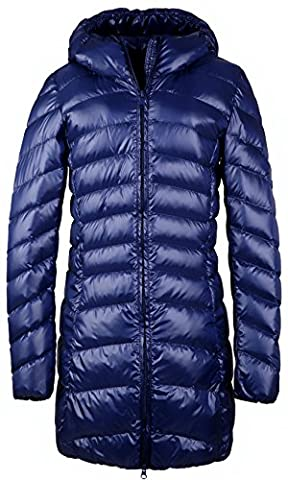 Santimon Womens Winter Outwear Packable Down Jacket Long Lightweight Hooded Coat Blue Large