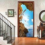 LLHBDA autoadesivo 3d sea door sticker spiaggia scenario pvc carta da parati per porta scorrevole arte murale impermeabile decorazione domestica,77x200cm