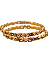 JFL - Traditional Ethnic One Gram Gold Plated Diamond Designer Bangle For Women & Girls