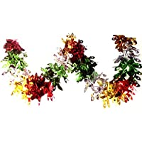 2.7m Multi Colour Peacock Foil Garland Christmas Party Home Ceiling Wall Window Hanging Decoration Swirls Festive Tinsel