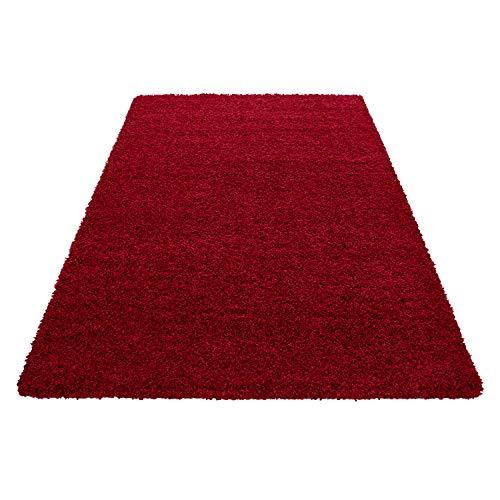 Hochflor Shaggy Teppich Wohnzimmer 3 cm Florhöhe einfarbig Teppiche mit OKOTEX, Maße:120x170 cm, Farbe:Rot