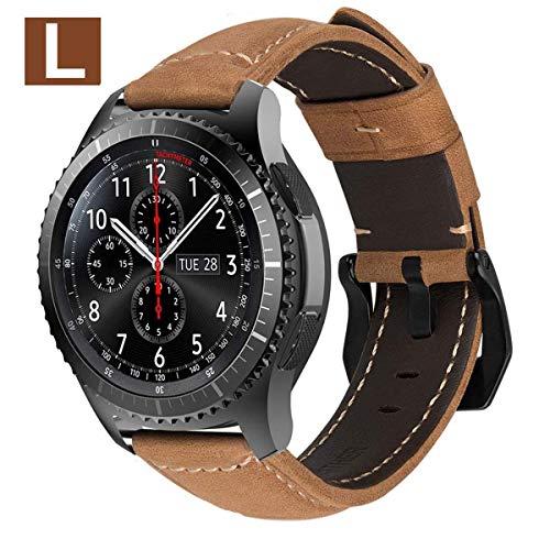 MroTech Armband für Gear S3 Frontier/Classic Lederarmband mit Schwarz Schnalle Echtes Leder Uhrenarmband für Galaxy Watch 46mm, Amazfit Pace, Fossil 22mm Ersatzarmband (Khaki-farbenen/L) -