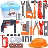 LVPY Werkzeuggürtelset für kleine Handwerker, Set mit Accessoires, Bohrhammer und Bauarbeiter Helm 28 Stück Werkzeug für Alter 3+