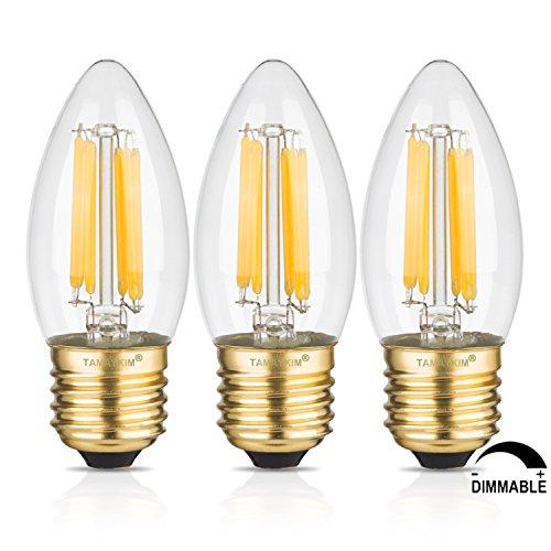 TAMAYKIM C35 6W Dimmerabile Filamento Lampadina LED Candela - 3000K Bianco Caldo 600 lumen - 6W equivalente a 60W - Attacco E27 - Siluro Forma - 360° Angolazione Fascio Luce - 3 Pezzi