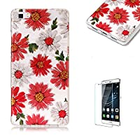 For Huawei P8 Lite Sparkly Sequins soft TPU+IMD Case. Brilliant lovely Colored Drawing Parttern Lightweight Ultra Slim Anti Scratch Transparent Soft Gel Silicone TPU Bumper Protective Case Cover Shell for Huawei P8 Lite - Daisy