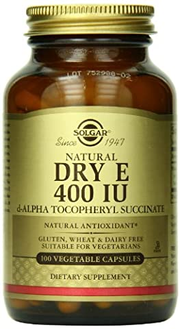 Solgar Dry Vitamin E 400 IU Vegetable Capsules (d-Alpha Tocopheryl Succinate), 100 V Caps 400 IU