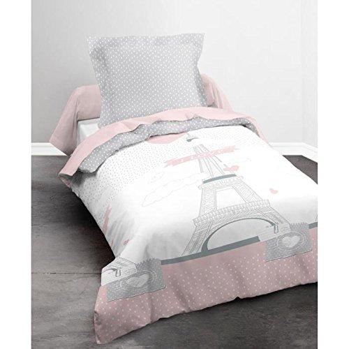 Today Parure de Lit Housse de Couette, Coton, Rose/Blanc, 140 x 200 cm