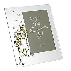 """Idea Regalo - Widdop Bingham & Co Ltd WG45450 - Portafoto in vetro, motivo: nozze d'oro, dimensione 7,5"""" x 6,5"""""""
