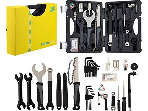 3min19sec Fahrrad Werkzeug Set - Fahrrad Werkzeugkoffer Reparatur Set mit allem Notwendigen für Arbeiten am Mountainbike, Rennrad oder Trekking und City Bike