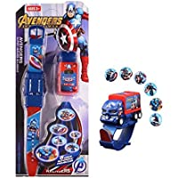 IndusBay® Captain America Pull Back Truck Car Shaped 6 Images Projector Digital Toy Watch Fun Toy for Kids - Good Return Gift - for Kids Boys
