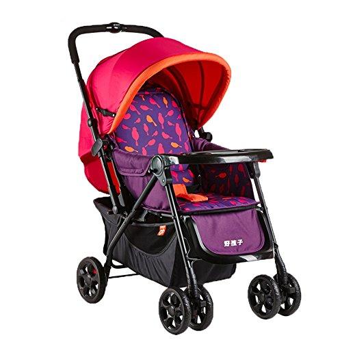 Kinderwagen Baby-Trolley-faltendes Licht kann ein neugeborenes Babyzweiwegvierrad Stoßdämpfer-Laufkatze nehmen/Buggys (Farbe : Red)