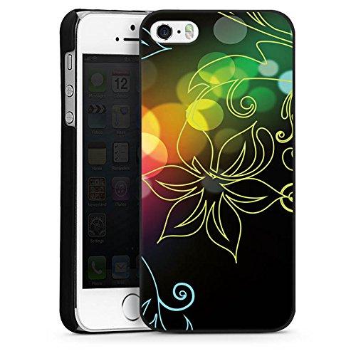 Apple iPhone 4 Housse Étui Silicone Coque Protection Fleurs Fleurs Lumière CasDur noir