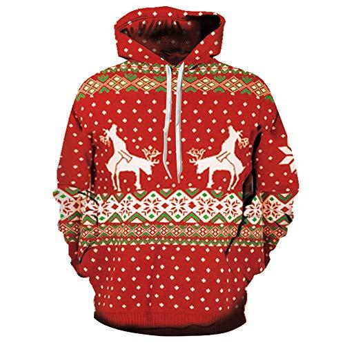 SEWORLD Weihnachten Christmas Herren Männer Herbst Winter Weihnachten Drucken Langarm Mit Kapuze Sweatshirt Top Bluse(X1-c-rot,EU-48/CN-XL)