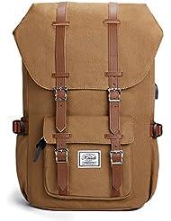 Canvas Rucksack, Casual Daypack mit USB Charge Port Backpack Schulrusack Laptoprucksack für Freitzeit Arbeit Campus Schule Reise