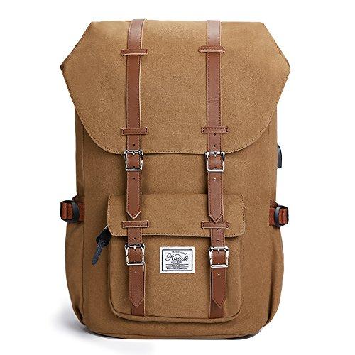 KALIDI Canvas, Casual Daypack mit USB Charge Port Backpack Schulrusack Laptoprucksack Rucksack, 50 cm, Khaki