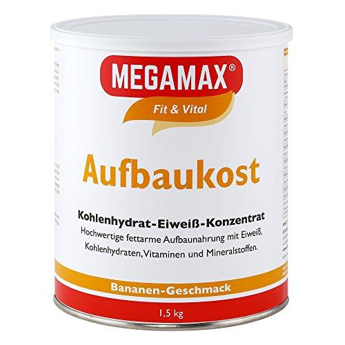 Megamax Aufbaukost Banane 1.5 kg. Trinknahrung hochkalorisch für Gewichtszunahme. Proteinpulver zur Zubereitung eines fettarmen Kohlenhydrat-Eiweiß-Getränkes für Muskelmasse - Muskelaufbau - Gewichtszunahme