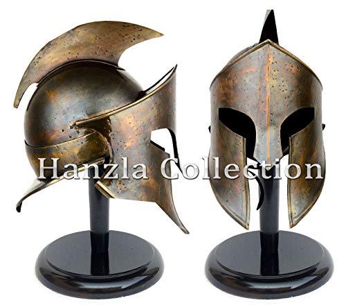 Calvin mittelalterlicher Wikinger Römischer Rüstungshelm King Leonidas 300 Spartan Brass Helm Mittelalterlicher Helm | Maske Partyhelm (Warrior King Kostüm)