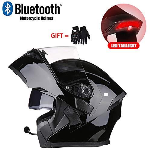 Gedme-helmet Modularer Motocross-Helm, Leichter Bluetooth-Klapphelm mit integriertem Bluetooth-Headset mit Zwei Lautsprechern und LED-Rücklichtern,C,L -