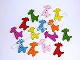 14 HOLZKNÖPFE - Kinderknöpfe - Bunte Giraffen
