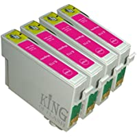 King of Flash Brand New 4 Magenta Compatible Printer Ink Cartridges For Epson T0713 - Epson Stylus D78, D92, D120, DX4000, DX4050, DX4400, DX4450, DX5000, DX5050, DX6050, DX7000F, DX7400. DX7450, DX8400, DX8450, DX9400, DX9400F, S20, S21, SX100, SX110, SZ105, SX115, SX200, SX205, SX209, SX210, SX215, SX218, SX400, SX405, SX405WIFI, SX410, SX415, SX510W, SX515W, SX600FW, SX610FW,BX310F,BX3450F, BX600FW, BX610FW,B40W