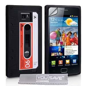 Yousave Accessories EA01-SA-Z Schutzhülle aus Silikon für Samsung Galaxy S2 i9100 Displayschutzfolie