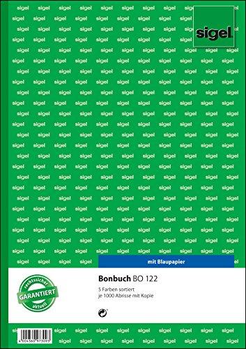 Preisvergleich Produktbild Sigel BO122 Bonbuch, 5 Bücher á 1000 Abrisse, in  gelb, rosa, weiß, grün, blau, A4, 2x50 Blatt