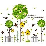 ALLDOLWEGE Die kreative Wand - Blumen grün Blatt Baum schlafzimmer kinderzimmer Wand Dekoration Karikatur Aufkleber Mädchen Kindergarten