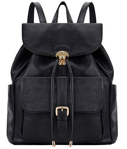 COOFIT Rucksack Damen, Lederrucksack Damen und Frauen Schwarz Schultasche Elegant Tasche (Schwarz)