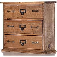DESIGN DELIGHTS Vintage KOMMODE KNOBBY | 3 Schubladen, 32 cm, Tannenholz | Schubladenschrank preisvergleich bei kinderzimmerdekopreise.eu