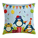 MLNHY Birthday Decorations for Kids Throw Pillow Cushion Cover, Cartoon Penguin Party with Flags Cakes and Box, Decorative Square Accent Pillow Case, 18 X 18 inches, Light Blue and Fern Green