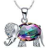 JewelleryClub Elephant Necklace Sterling Silver Colorful Swarovski Elements Cristal Femme Pendentif Collier