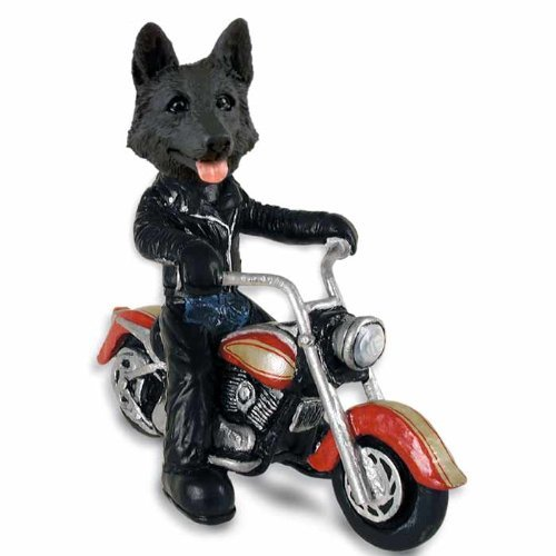German Shepherd Black Motorcycle Doogie Collectable Figurine by CON -
